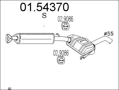 Silencieux central MTS 01.54370 (X1)