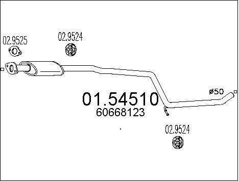 Silencieux central MTS 01.54510 (X1)