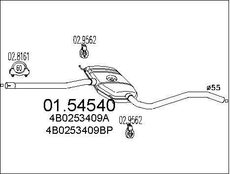 Silencieux central MTS 01.54540 (X1)