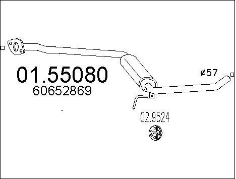 Silencieux central MTS 01.55080 (X1)