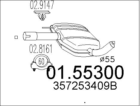 Silencieux central MTS 01.55300 (X1)