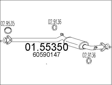 Silencieux central MTS 01.55350 (X1)