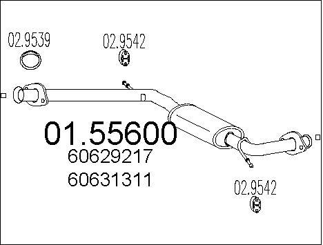Silencieux central MTS 01.55600 (X1)