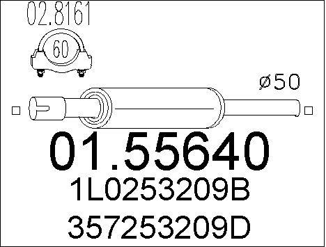 Silencieux avant MTS 01.55640 (X1)