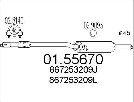 Silencieux central MTS 01.55670 (X1)