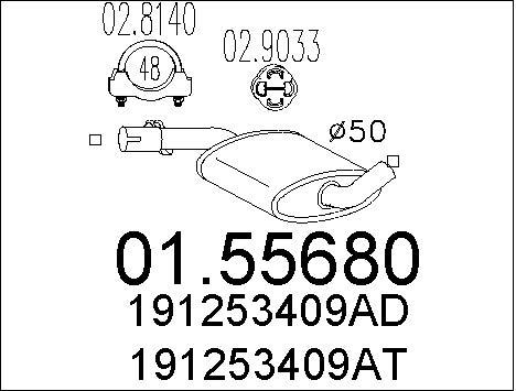 Silencieux central MTS 01.55680 (X1)