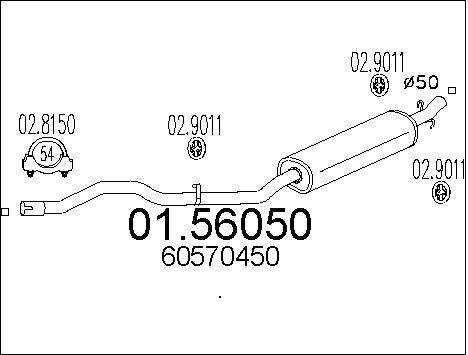 Silencieux central MTS 01.56050 (X1)