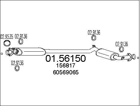 Silencieux central MTS 01.56150 (X1)