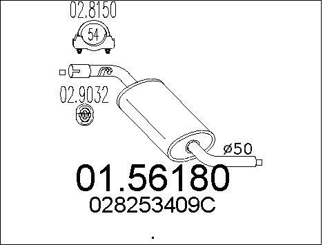 Silencieux central MTS 01.56180 (X1)