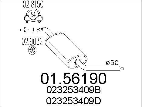 Silencieux central MTS 01.56190 (X1)