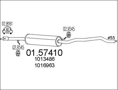 Silencieux central MTS 01.57410 (X1)