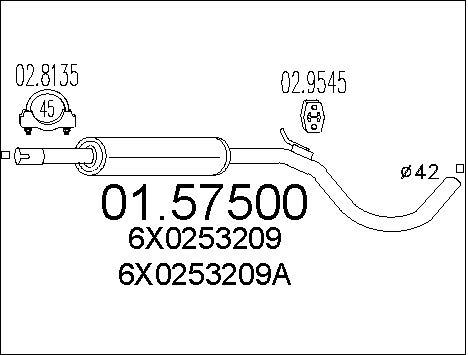 Silencieux central MTS 01.57500 (X1)