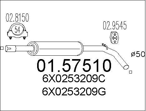 Silencieux central MTS 01.57510 (X1)