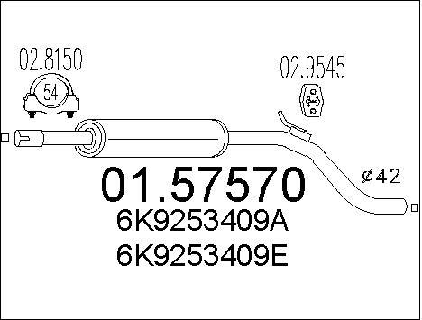 Silencieux central MTS 01.57570 (X1)