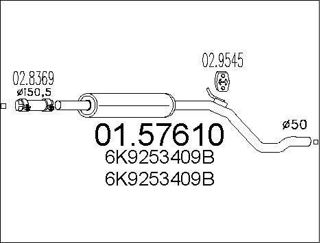 Silencieux central MTS 01.57610 (X1)