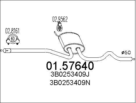 Silencieux central MTS 01.57640 (X1)