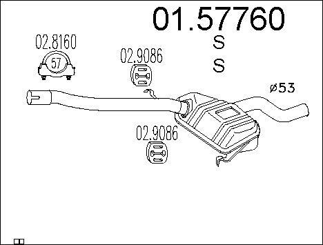 Silencieux central MTS 01.57760 (X1)