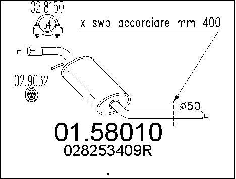 Silencieux central MTS 01.58010 (X1)