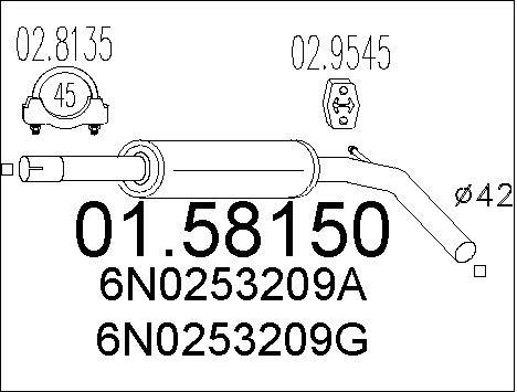 Silencieux central MTS 01.58150 (X1)