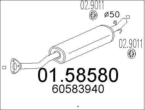 Silencieux central MTS 01.58580 (X1)