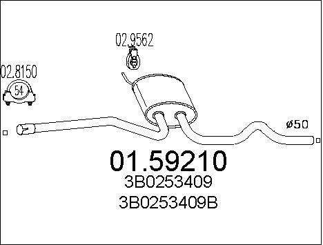 Silencieux central MTS 01.59210 (X1)