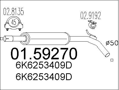 Silencieux central MTS 01.59270 (X1)