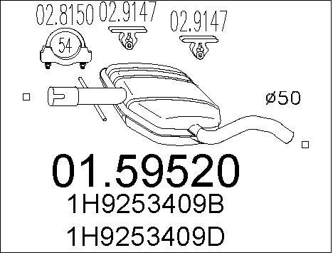 Silencieux central MTS 01.59520 (X1)