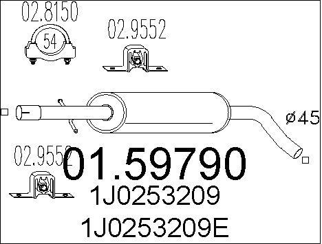 Silencieux central MTS 01.59790 (X1)