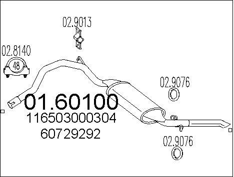 Silencieux arriere MTS 01.60100 (X1)