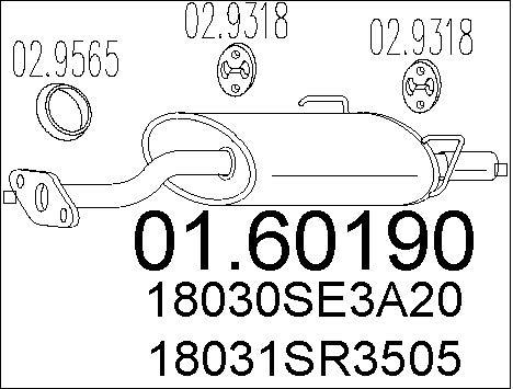 Silencieux arriere MTS 01.60190 (X1)