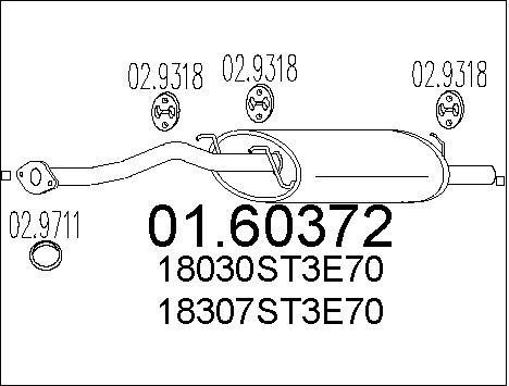 Silencieux arriere MTS 01.60372 (X1)