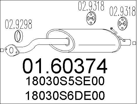 Silencieux arriere MTS 01.60374 (X1)
