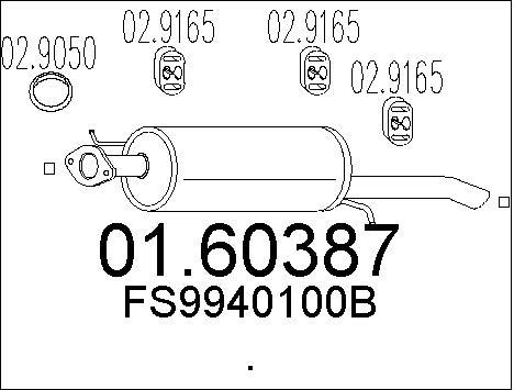 Silencieux arriere MTS 01.60387 (X1)