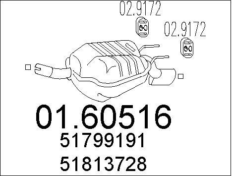 Silencieux arriere MTS 01.60516 (X1)