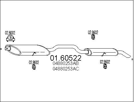 Silencieux arriere MTS 01.60522 (X1)