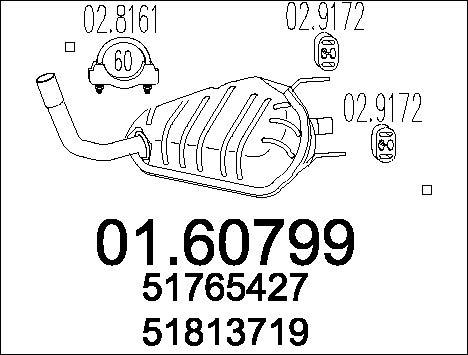 Silencieux arriere MTS 01.60799 (X1)