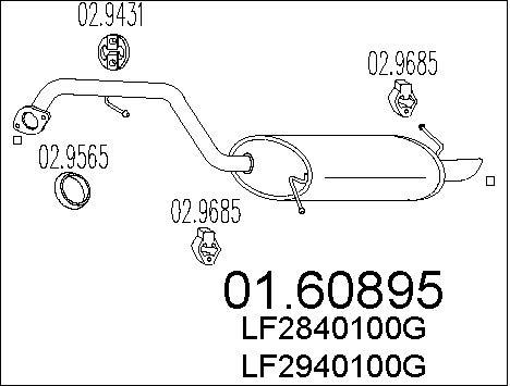 Silencieux arriere MTS 01.60895 (X1)