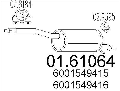 Silencieux arriere MTS 01.61064 (X1)