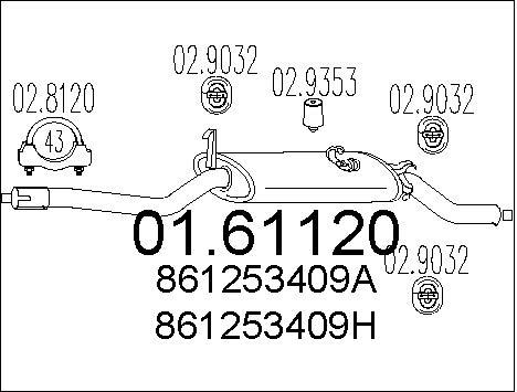 Silencieux arriere MTS 01.61120 (X1)