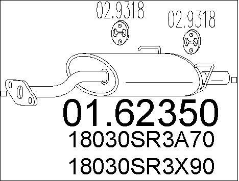 Silencieux arriere MTS 01.62350 (X1)