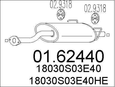 Silencieux arriere MTS 01.62440 (X1)