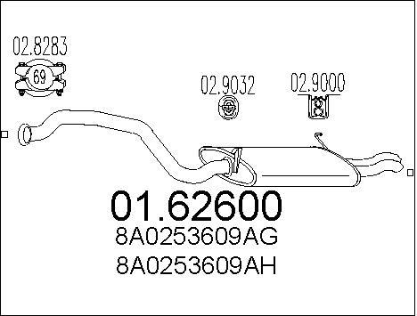Silencieux arriere MTS 01.62600 (X1)