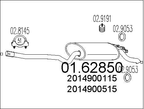Silencieux MTS 01.62850 (X1)