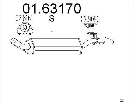 Silencieux arriere MTS 01.63170 (X1)