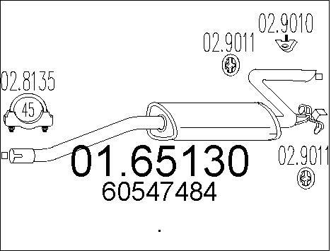 Silencieux arriere MTS 01.65130 (X1)