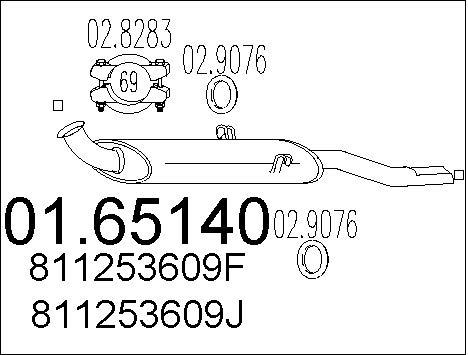 Silencieux arriere MTS 01.65140 (X1)