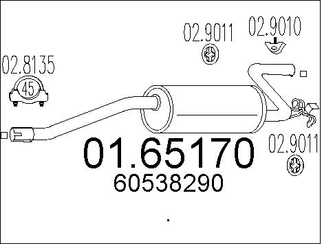 Silencieux arriere MTS 01.65170 (X1)
