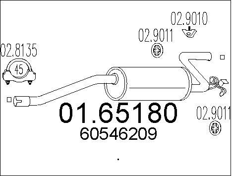 Silencieux arriere MTS 01.65180 (X1)