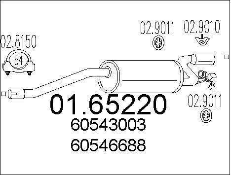 Silencieux arriere MTS 01.65220 (X1)