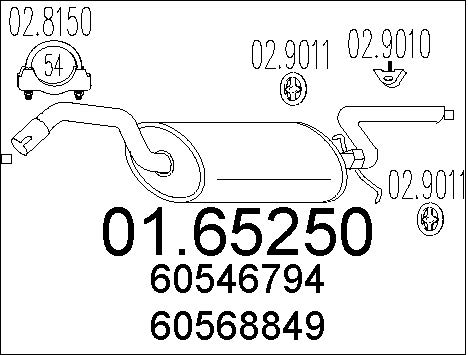 Silencieux arriere MTS 01.65250 (X1)